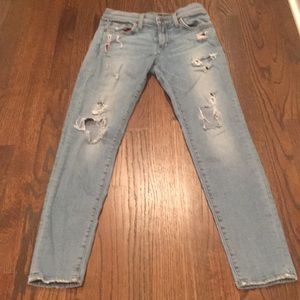 Red engine ripped skinny jeans size 27